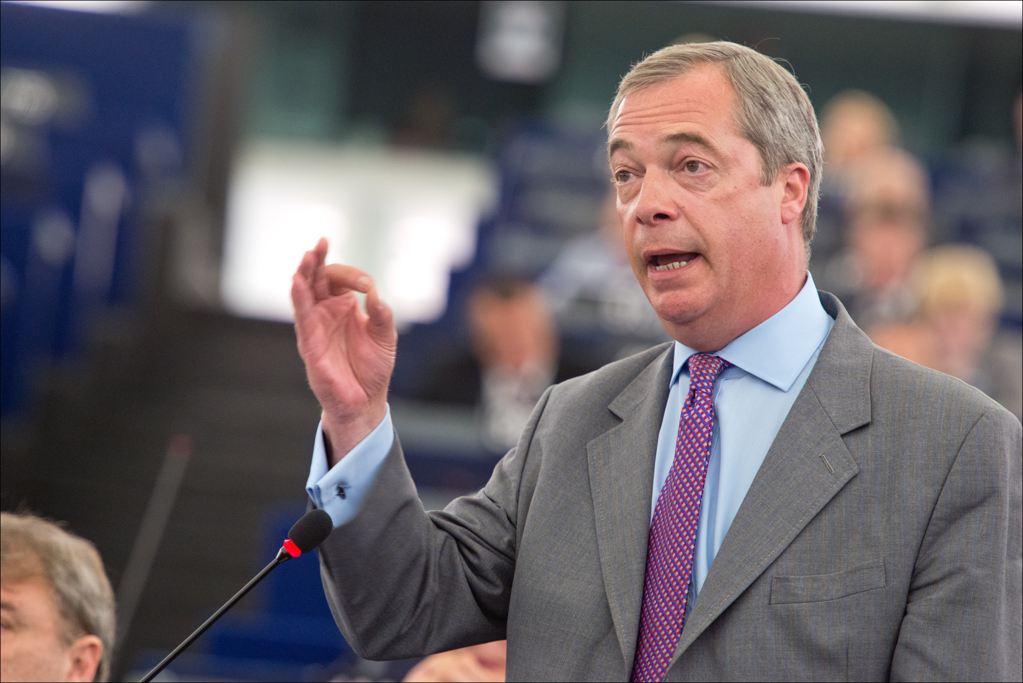 UK Independence Party Leader Nigel Farage speaks in the European Parliament in July 2014. Source: European Parliament (https://flic.kr/p/nTSpNg).